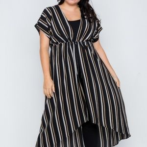 Plus Size Black Multi Stripe Kimono Cover Up Cardi